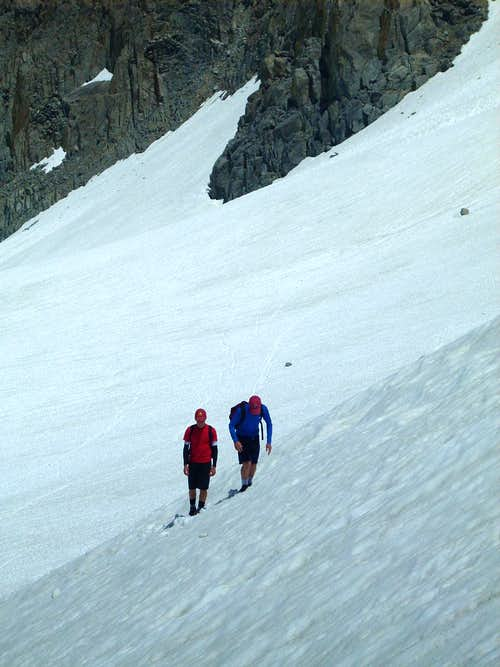 Josh and Evan ascending toward Bergstrom (North Palisade Glacier)