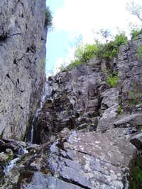The crux - a small waterfall...