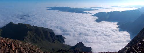 Sea of clouds from the top of the Pic d Estos.