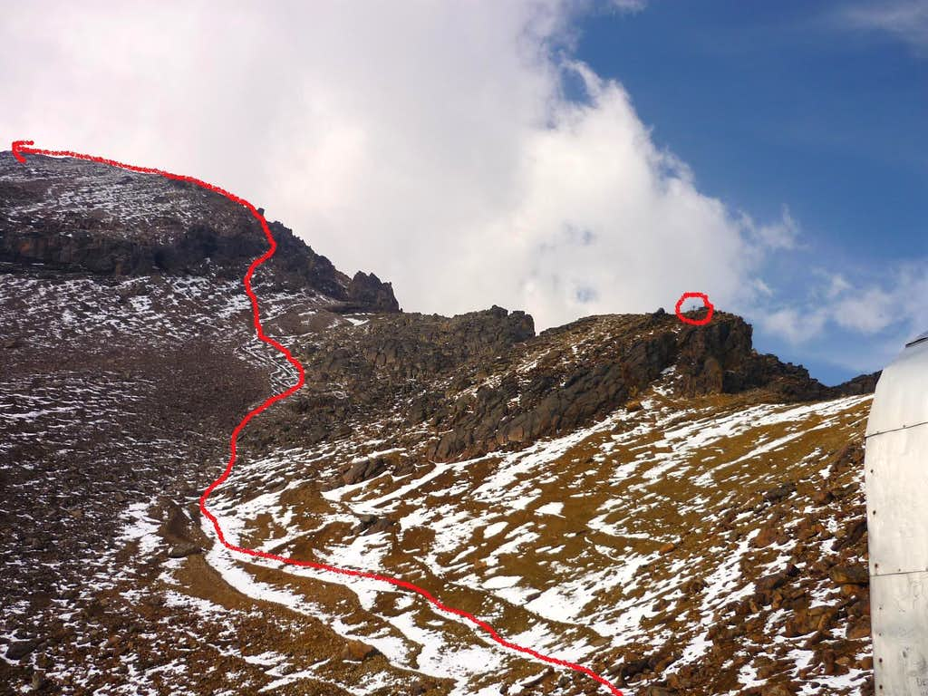 Route to the Mendez Hut from the Grupo de los Cien hut