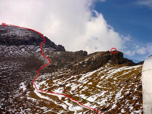 Route to the Mendez Hut from the Grupo de los Cien hut