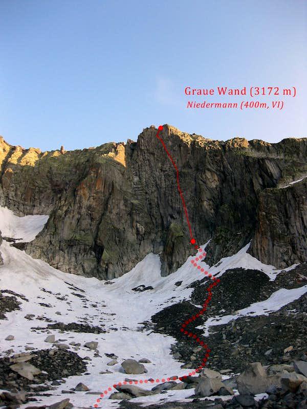 graue wand climbing hiking mountaineering summitpost. Black Bedroom Furniture Sets. Home Design Ideas