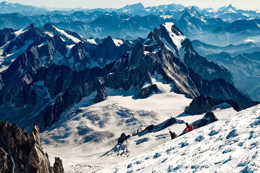 Grandes Jorasses and Dent du Geant seen from the Mont-Blanc summit