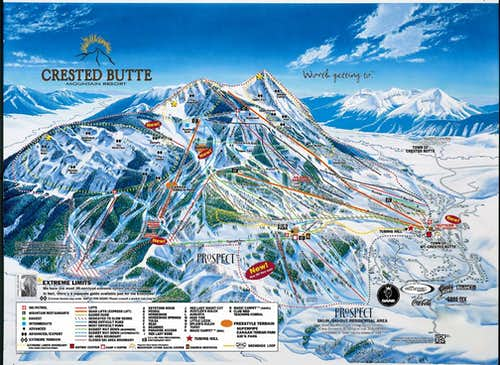 Map of the mountain in the winter