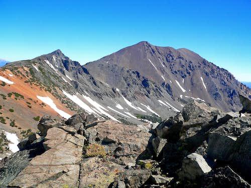 Peak 11,568' and Dunderberg Peak from Black Cat Peak northwest slope