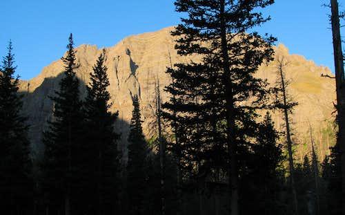Broken Hand Peak through trees