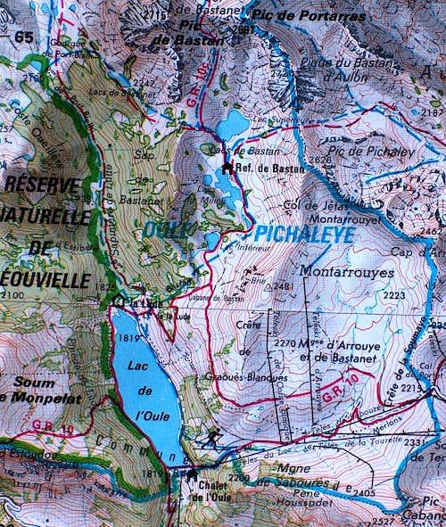 Map of Pic de Bastan
