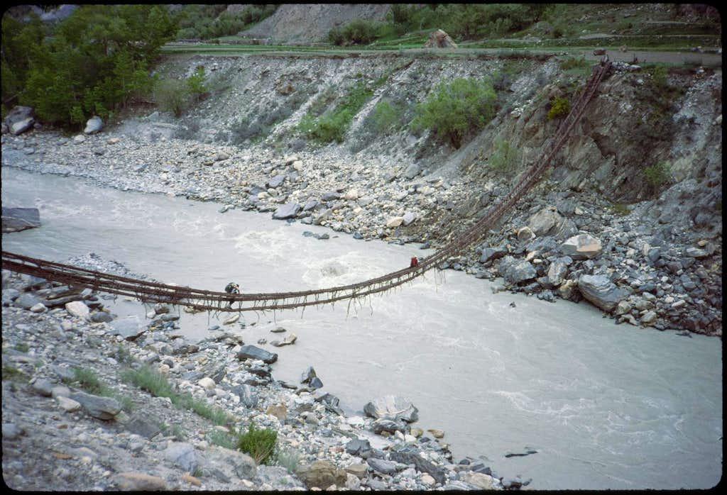 Three-vine bridge near Askole, Pakistan