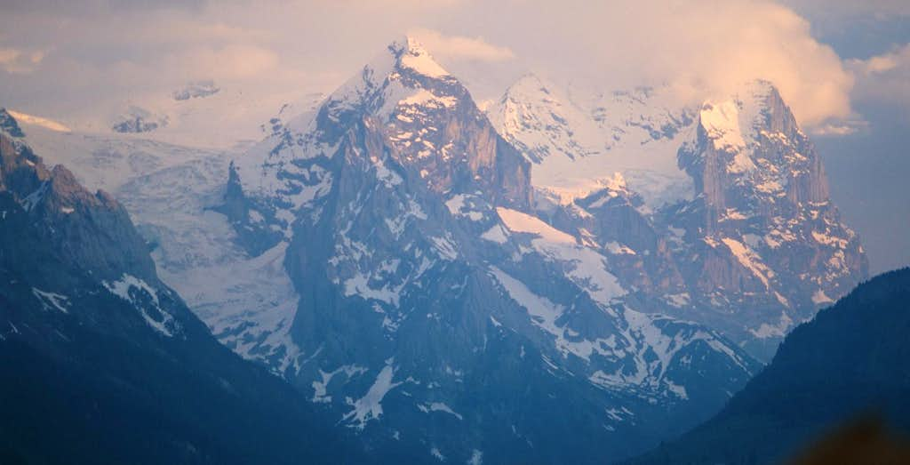 Wetterhorn group at sunset