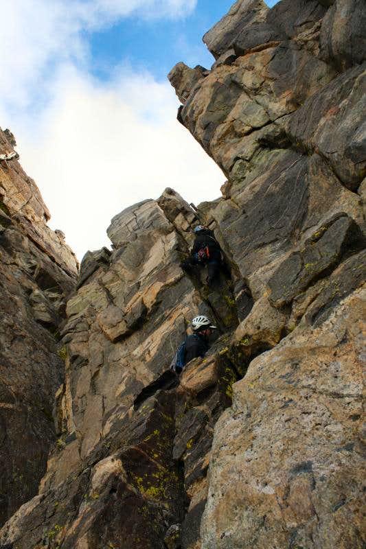 Crux of Turret Peak's West Ridge