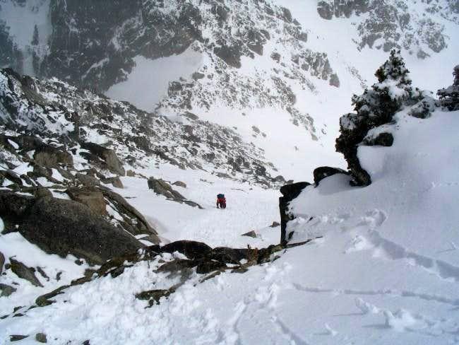 Haydar climbing a snowfield...