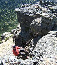 Rappel from true summit tower, <br>Heavy Runner Mountain