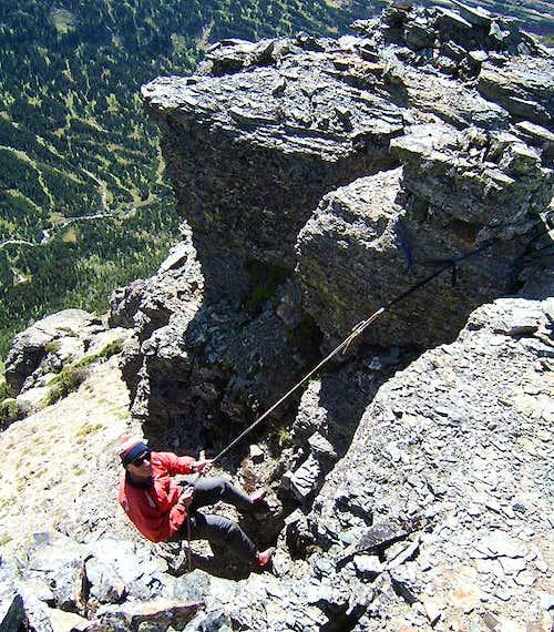 Rappel from true summit tower, <br>Heavy Runner Mountain
