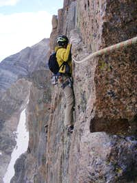 Traversing out to the rappel anchors