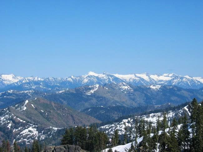 Zoom-in shot of Trinity Alps,...