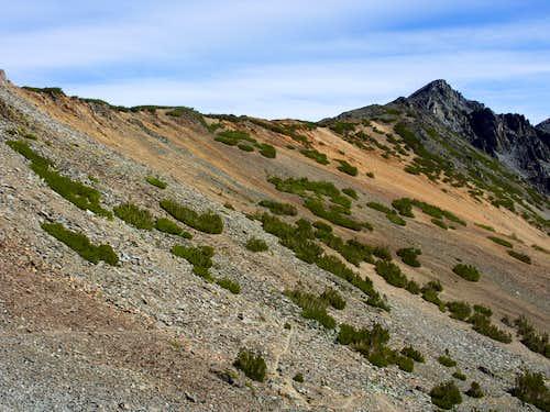 Looking back at the full summit ridge