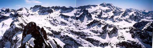 At the summit of the Hourgade, looking south, old fashioned hand-made panorama !