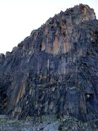 Aiguille de l'M North Face: Climbers on the Ménégaux route (1/2)
