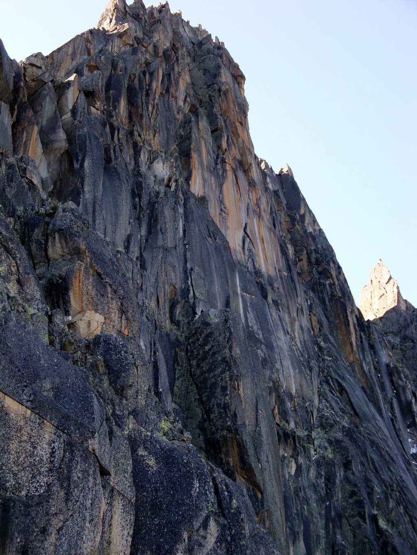 Aiguille de l'M North Face: Climbers on the Ménégaux route (2/2)
