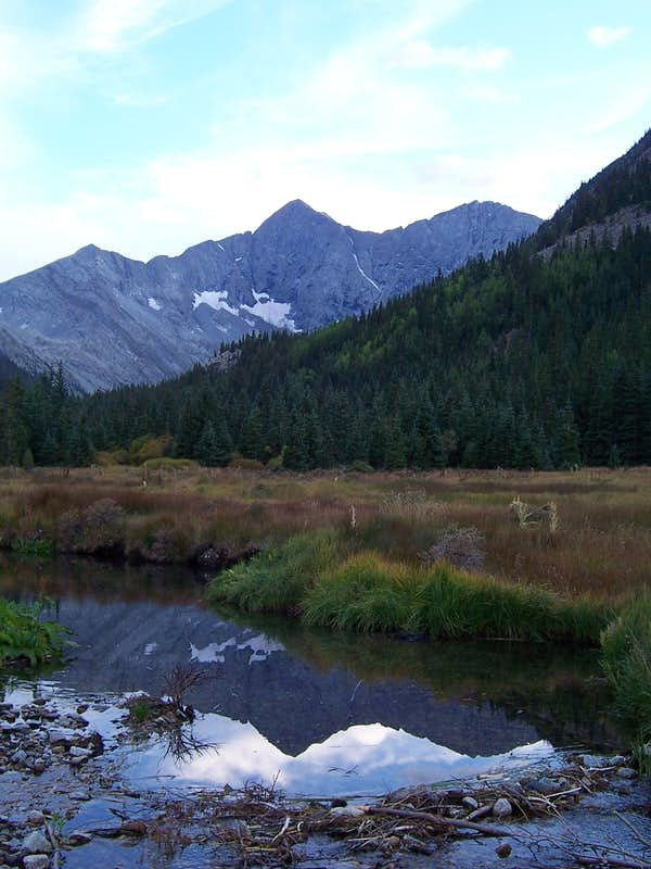 Blanca Peak reflected in a mid-valley stream