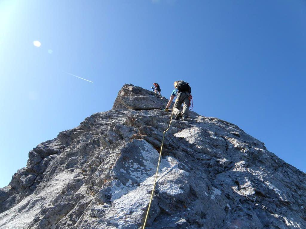 Scrambling on Peak2, Goat Traverse