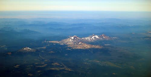 3 Sisters, Broken Top, & Mt Bachelor from 36,000 ft