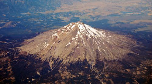 Mt Shasta\'s E Side from 36,000 ft