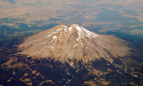 Mt Shasta South Side from 36,000 ft