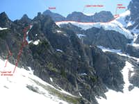 Shuksan Fisher's Chimney Route--Upper mtn annotated 7-3-09