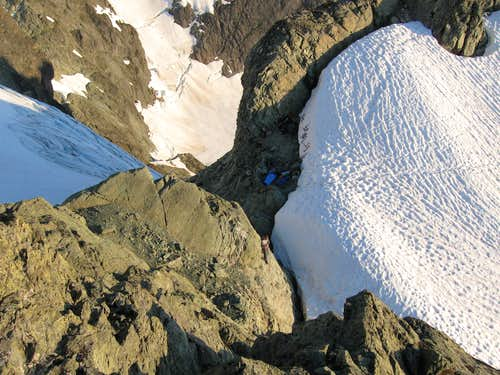 Shuksan campsite from above (between White Salmon and Curtis Glaciers) 9-3-09