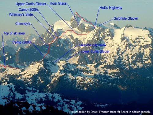 Mt Shuksan Fisher's Chimney Route Annotated