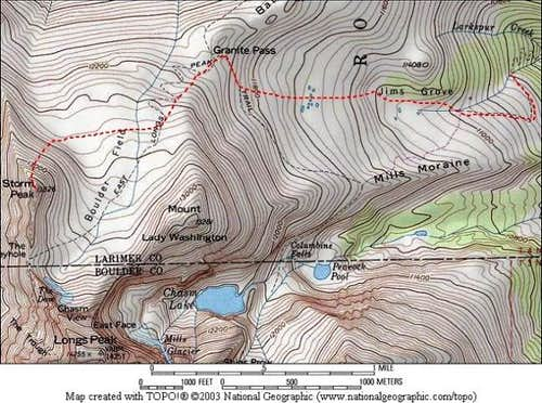 Topo map showing our...