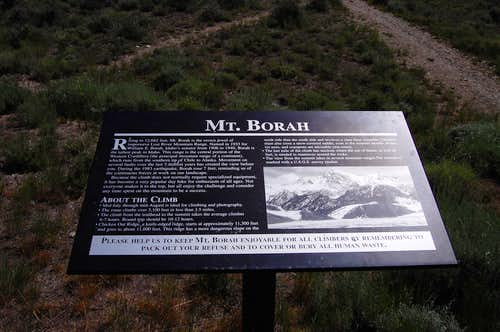 Borah trailhead sign