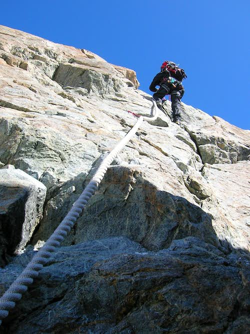 Climbing the fixed ropes