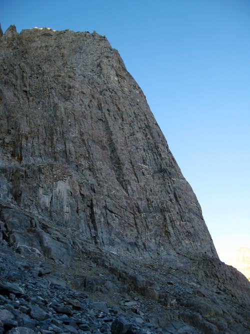 Climbers at the base of Dark Star