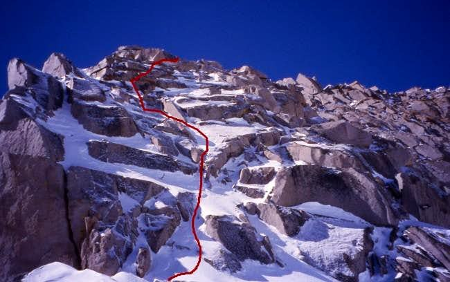 The North Face Route above...