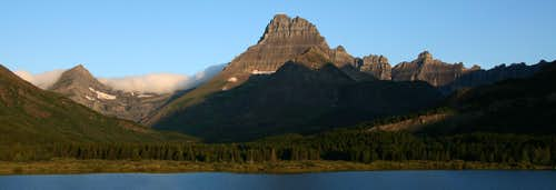 Swiftcurrent Mountain, Mount Wilbur, and the Pinnacle Wall-- Dawn