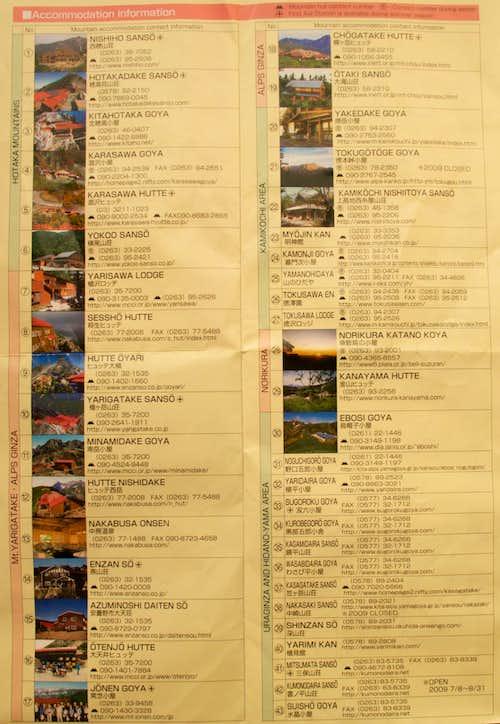 Hut Contact Info - Japan Alps
