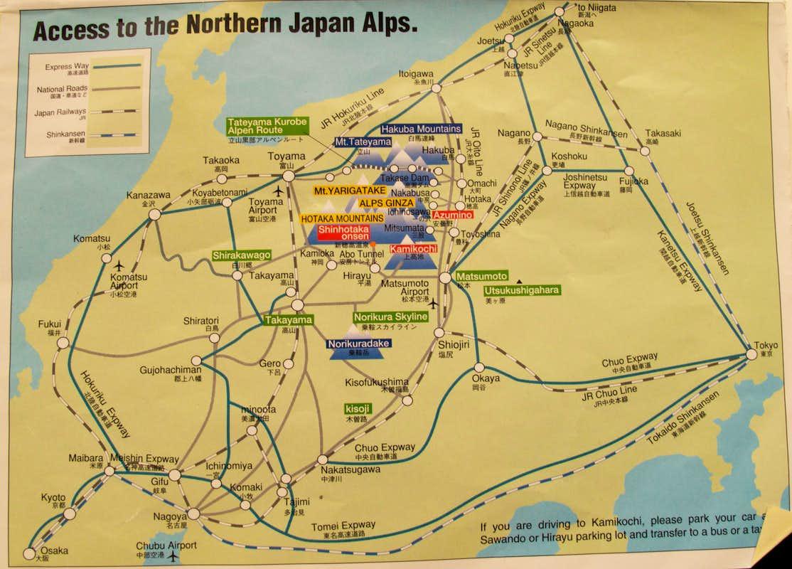 Japan Alps Area Map Photos Diagrams Topos SummitPost - Japan map area