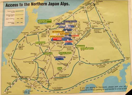 Japan Alps Area Map