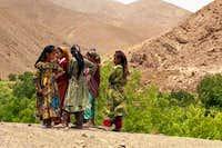 August, 2001. Berber girls at...