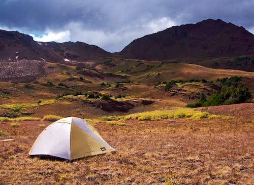 Camping in Willow Basin, looking toward Buckskin