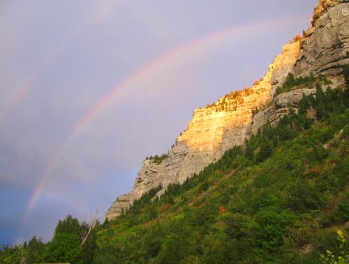 Rainbow over Cascade Mountain north slopes