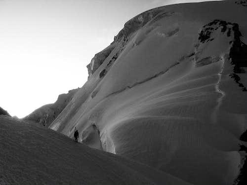 Climber on Lap Nazar 5990m NW Ridge