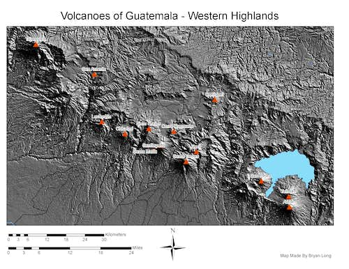 Topographical Maps for Guatemalan Volcanoes
