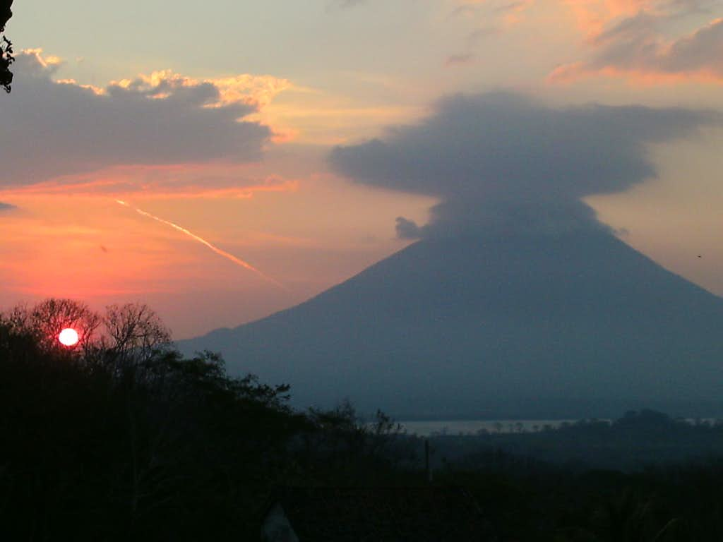 Sunset view of Volcán Concepción from Volcán Maderas