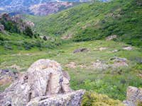 Basin below the top of the ridge