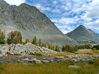 Little Lakes Peak, 12,782\',  Morgan Pass and Rosey Finch Peak, 12,744\'