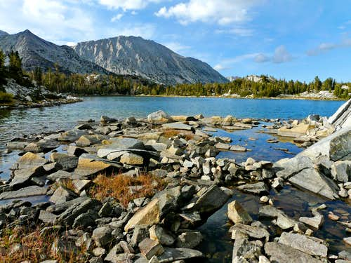 Lookout Peak, 11,902'  and Mt. Starr, 12,835',  from Chickenfoot Lake