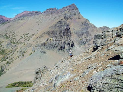 View from Red Crow slopes to the saddle